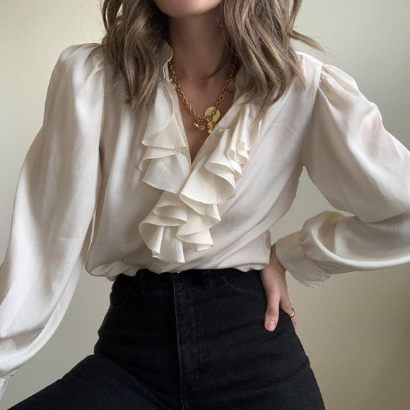 Vintage Tops - Ivory Textured Ruffle Collar Blouse Button Up